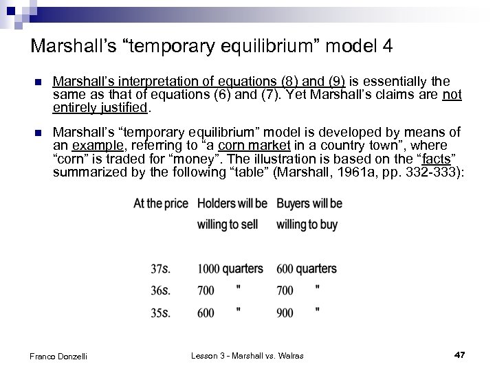 """Marshall's """"temporary equilibrium"""" model 4 n Marshall's interpretation of equations (8) and (9) is"""