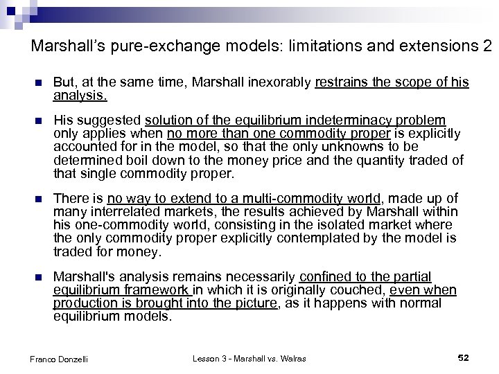 Marshall's pure-exchange models: limitations and extensions 2 n But, at the same time, Marshall