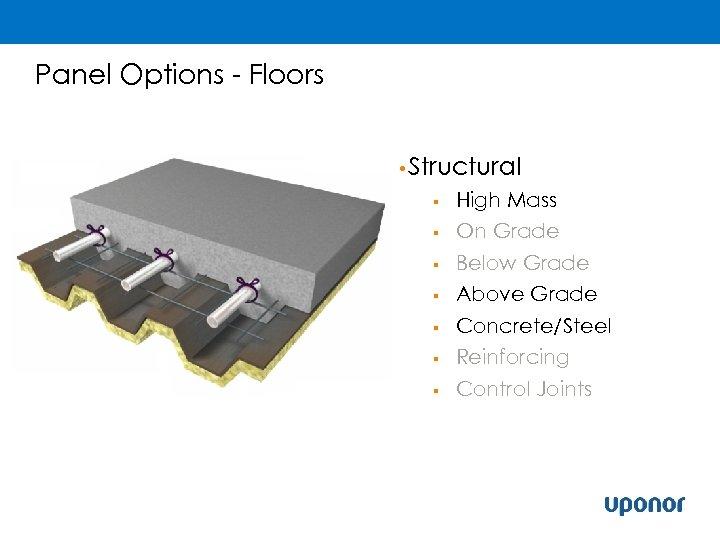 Panel Options - Floors • Structural § High Mass § On Grade Below Grade