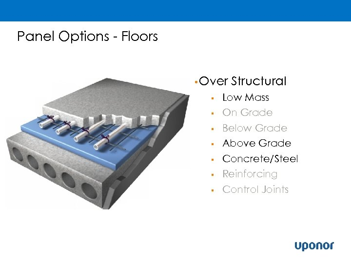 Panel Options - Floors • Over Structural § Low Mass § On Grade Below