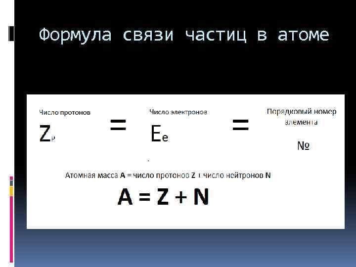 Формула связи частиц в атоме
