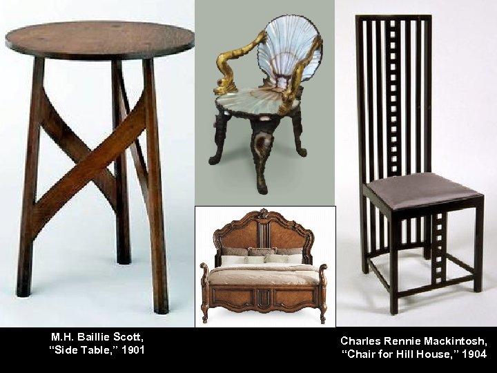 "M. H. Baillie Scott, ""Side Table, "" 1901 Charles Rennie Mackintosh, ""Chair for Hill"