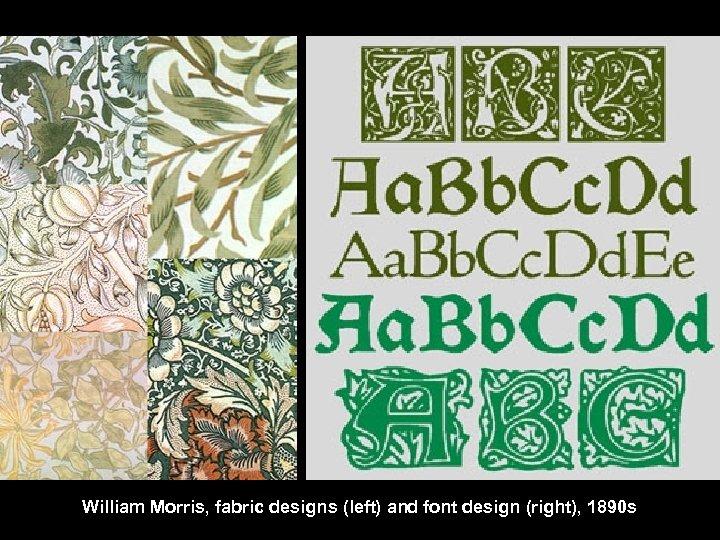 William Morris, fabric designs (left) and font design (right), 1890 s