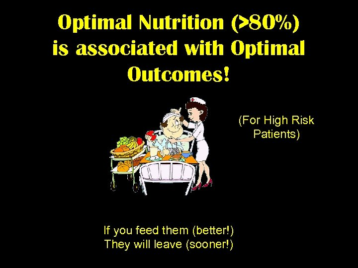 Optimal Nutrition (>80%) is associated with Optimal Outcomes! (For High Risk Patients) If you