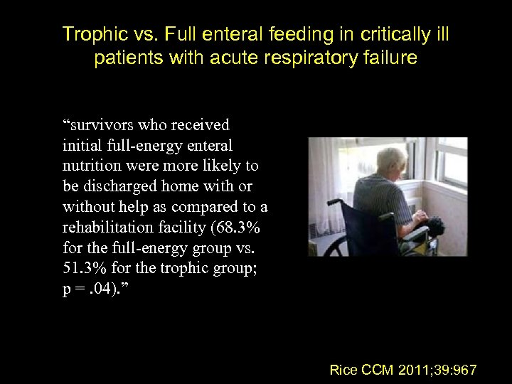 "Trophic vs. Full enteral feeding in critically ill patients with acute respiratory failure ""survivors"