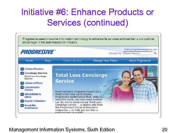 Initiative #6: Enhance Products or Services (continued) Management Information Systems, Sixth Edition 20