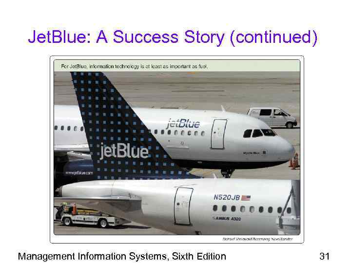 Jet. Blue: A Success Story (continued) Management Information Systems, Sixth Edition 31