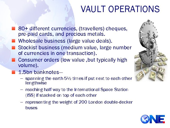 VAULT OPERATIONS 80+ different currencies, (travellers) cheques, pre-paid cards, and precious metals. Wholesale business