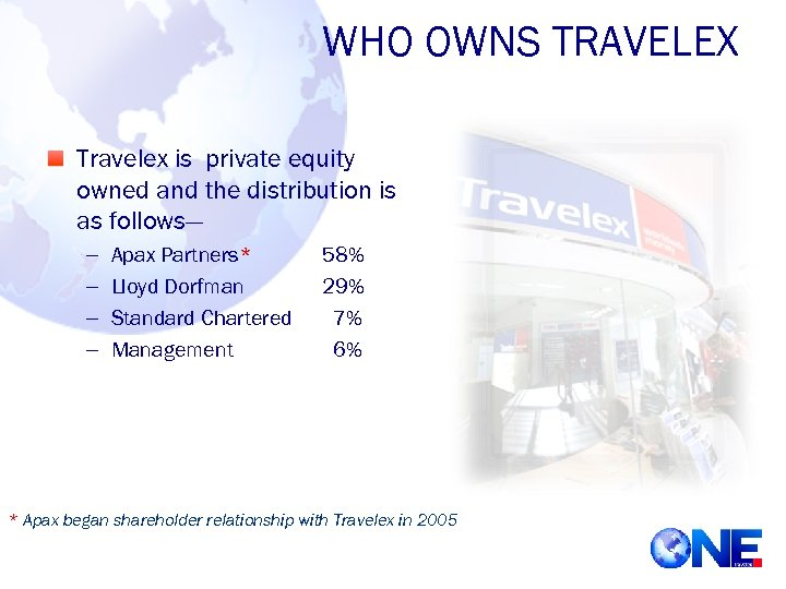 WHO OWNS TRAVELEX Travelex is private equity owned and the distribution is as follows—