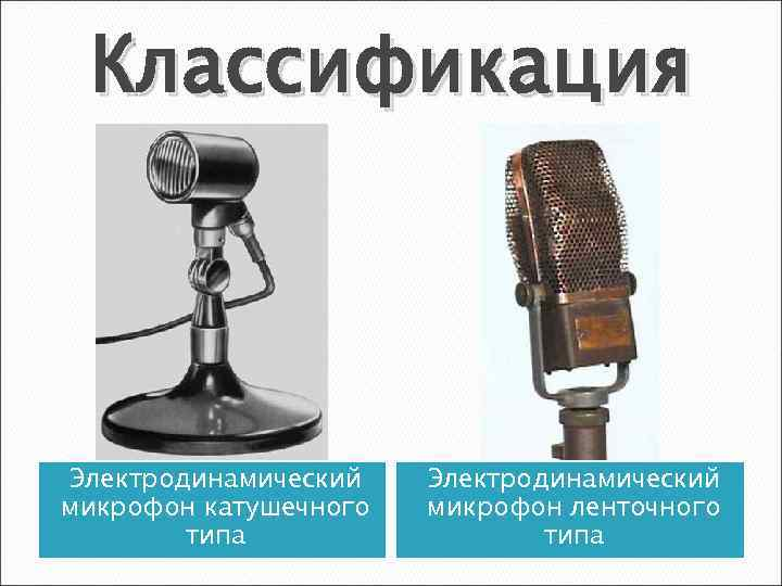 Классификация Электродинамический микрофон катушечного типа Электродинамический микрофон ленточного типа