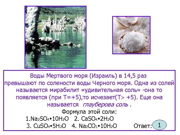 Воды Мертвого моря (Израиль) в 14, 5 раз превышают по солености воды Черного моря.