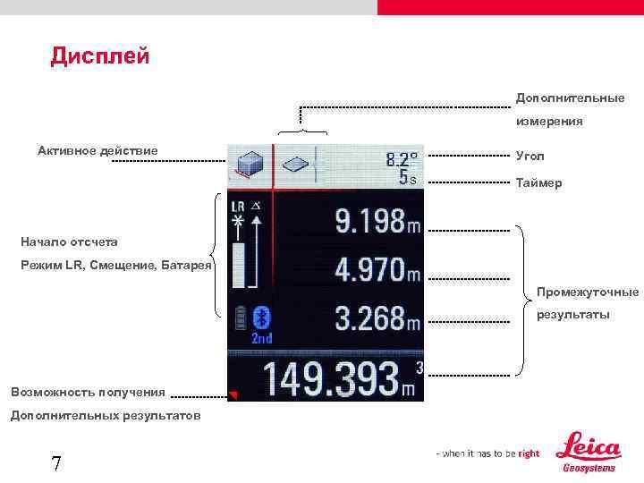 Дисплей Дополнительные измерения Активное действие Угол s Таймер Начало отсчета Режим LR, Смещение, Батарея