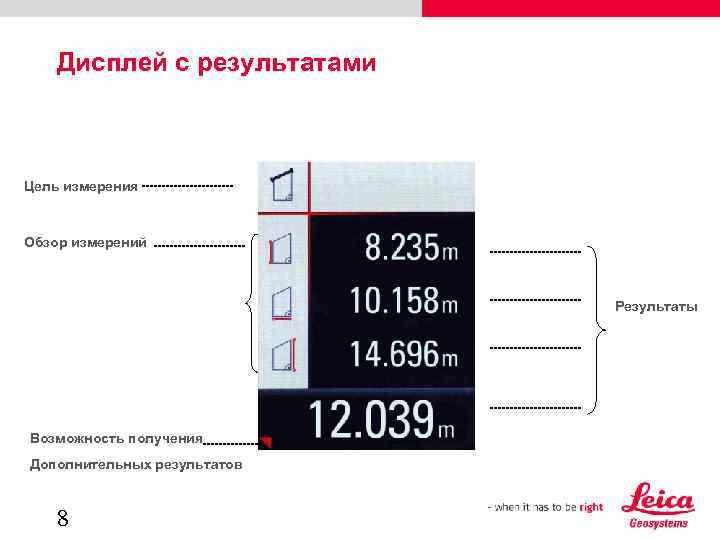 Дисплей с результатами Цель измерения Обзор измерений Результаты Возможность получения Дополнительных результатов 8