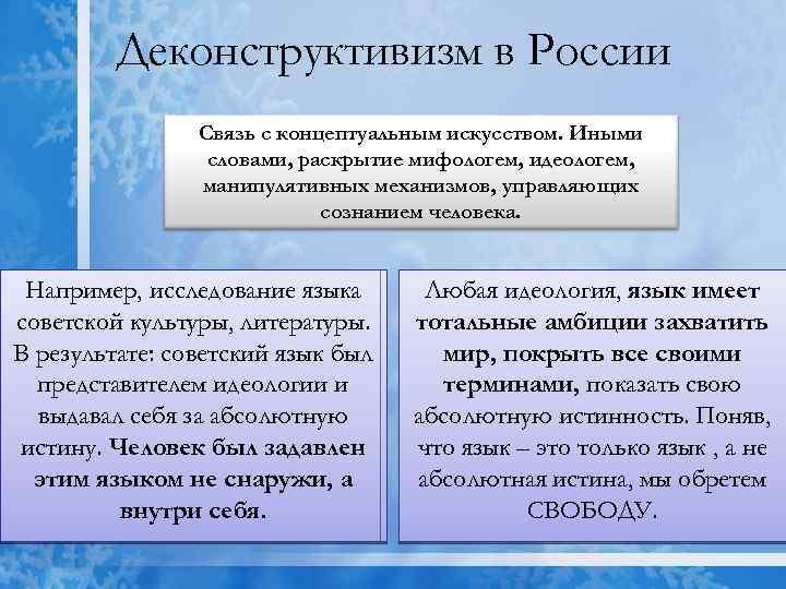 Деконструктивизм в России Связь с концептуальным искусством. Иными словами, раскрытие мифологем, идеологем, манипулятивных механизмов,