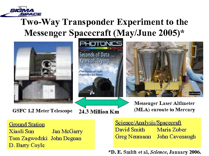 Two-Way Transponder Experiment to the Messenger Spacecraft (May/June 2005)* GSFC 1. 2 Meter Telescope