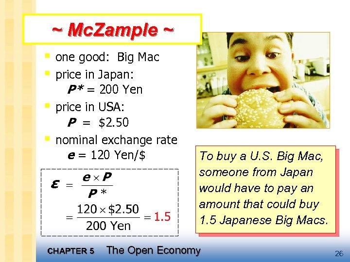 ~ Mc. Zample ~ § one good: Big Mac § price in Japan: P*