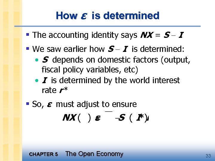 How ε is determined § The accounting identity says NX = S - I