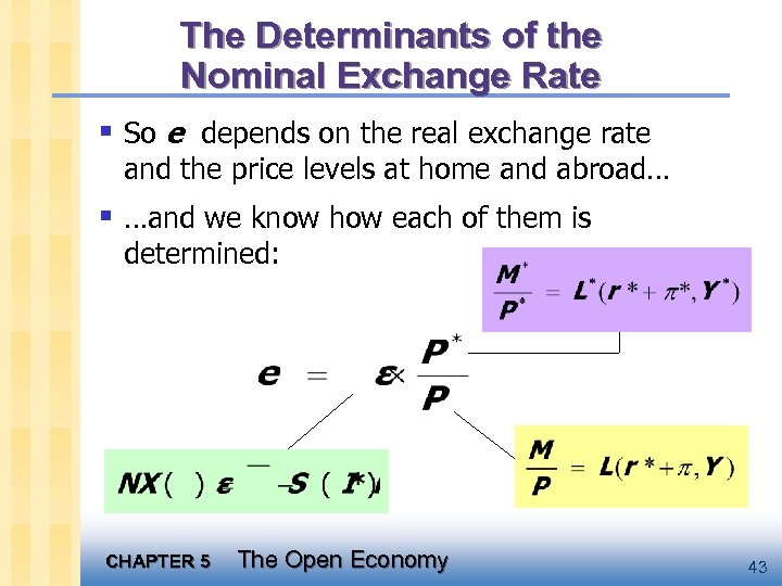 The Determinants of the Nominal Exchange Rate § So e depends on the real