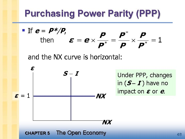 Purchasing Power Parity (PPP) § If e = P*/P, then and the NX curve