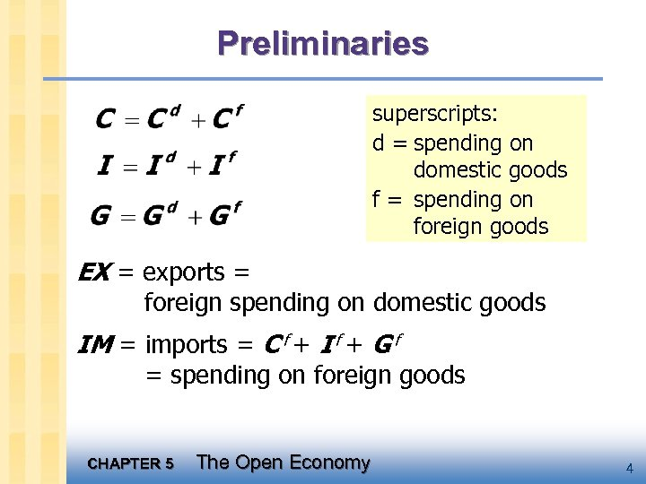 Preliminaries superscripts: d = spending on domestic goods f = spending on foreign goods
