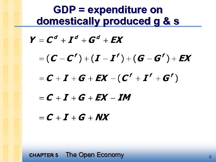 GDP = expenditure on domestically produced g & s CHAPTER 5 The Open Economy