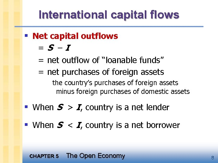 """International capital flows § Net capital outflows =S –I = net outflow of """"loanable"""