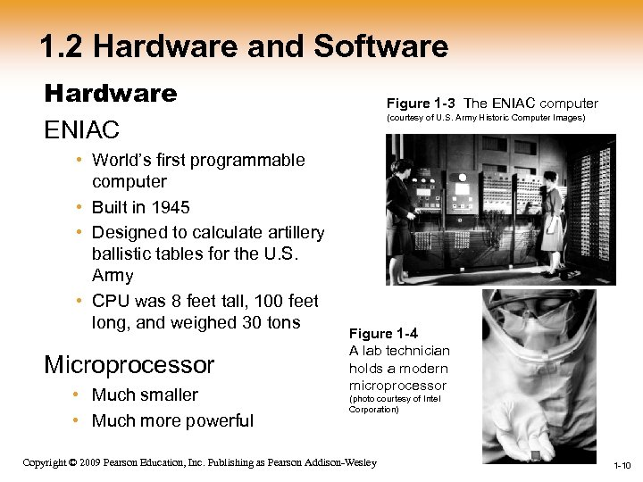 1. 2 Hardware and Software Hardware ENIAC • World's first programmable computer • Built