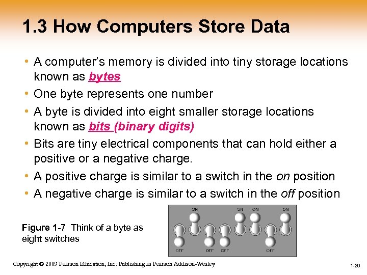 1. 3 How Computers Store Data • A computer's memory is divided into tiny