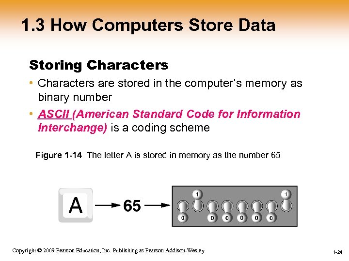1. 3 How Computers Store Data Storing Characters • Characters are stored in the