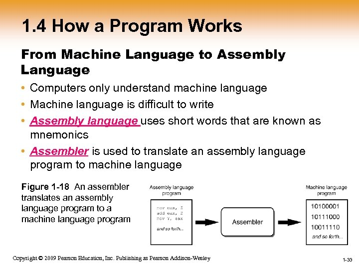 1. 4 How a Program Works From Machine Language to Assembly Language • Computers