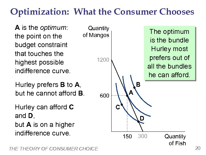Optimization: What the Consumer Chooses A is the optimum: the point on the budget