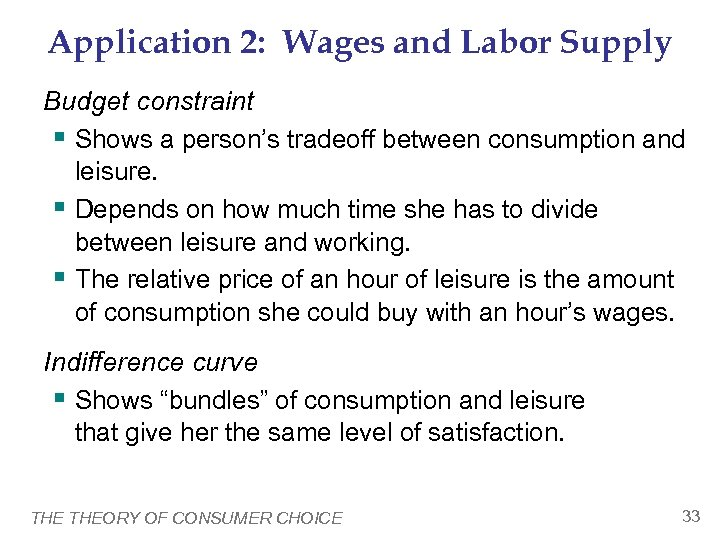 Application 2: Wages and Labor Supply Budget constraint § Shows a person's tradeoff between