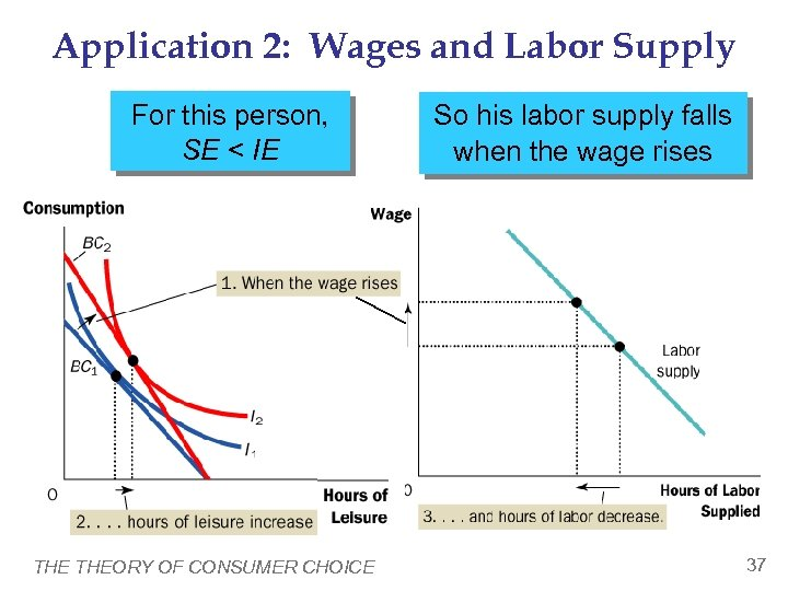 Application 2: Wages and Labor Supply For this person, SE < IE THEORY OF