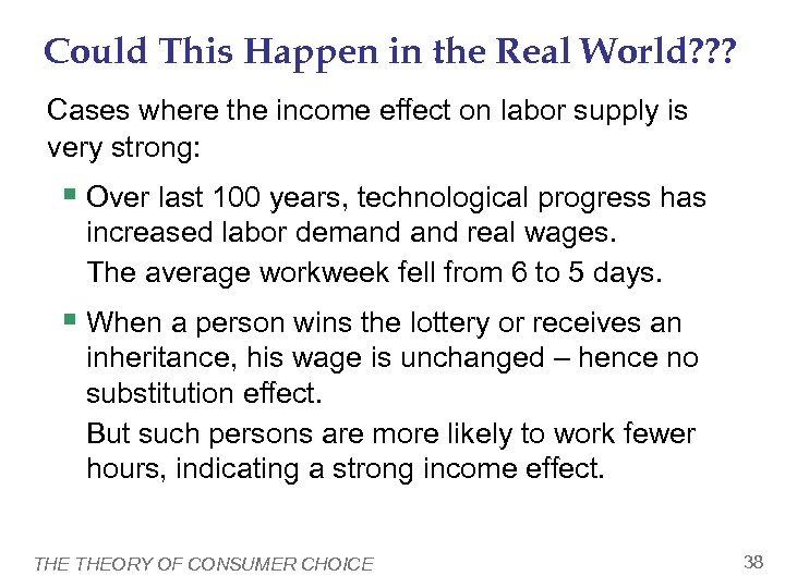 Could This Happen in the Real World? ? ? Cases where the income effect