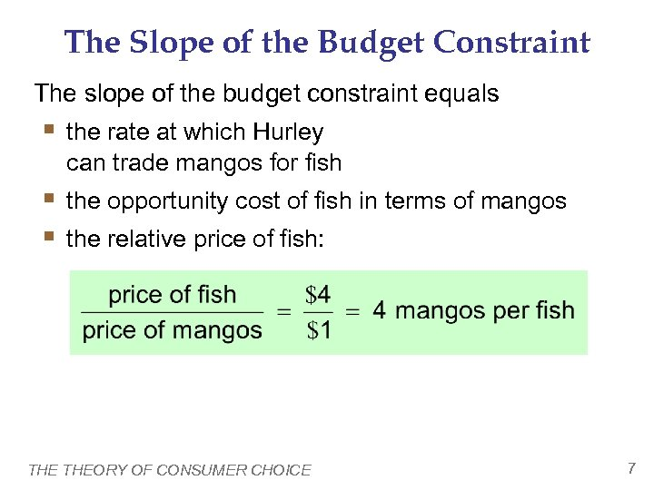 The Slope of the Budget Constraint The slope of the budget constraint equals §