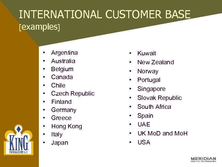INTERNATIONAL CUSTOMER BASE [examples] • • • 23 Argentina Australia Belgium Canada Chile Czech