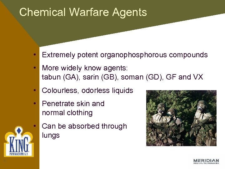 Chemical Warfare Agents • Extremely potent organophosphorous compounds • More widely know agents: tabun