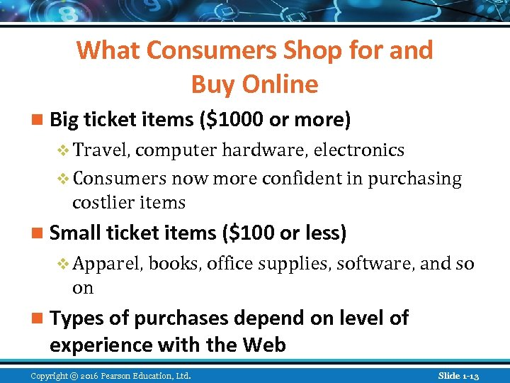 What Consumers Shop for and Buy Online n Big ticket items ($1000 or more)