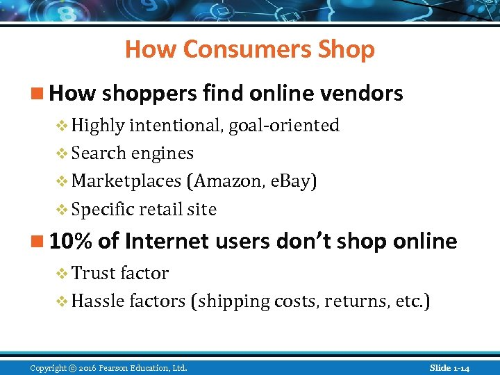 How Consumers Shop n How shoppers find online vendors v Highly intentional, goal-oriented v