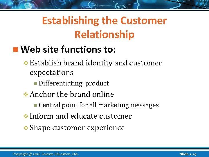 Establishing the Customer Relationship n Web site functions to: v Establish brand identity and