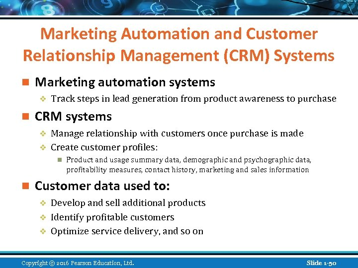 Marketing Automation and Customer Relationship Management (CRM) Systems n Marketing automation systems v n