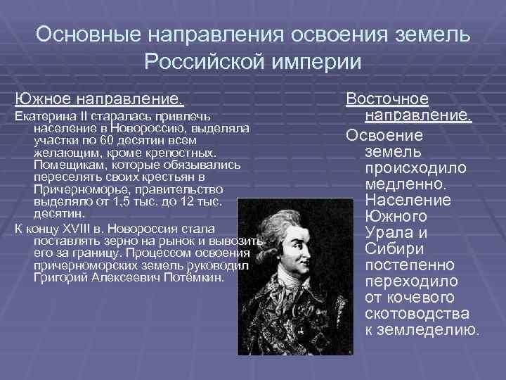 Основные направления освоения земель Российской империи Южное направление. Екатерина II старалась привлечь население в