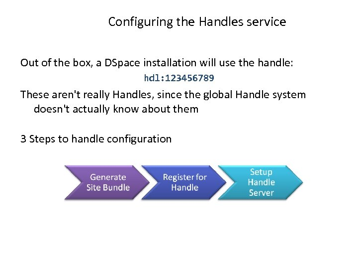 Configuring the Handles service Out of the box, a DSpace installation will use the