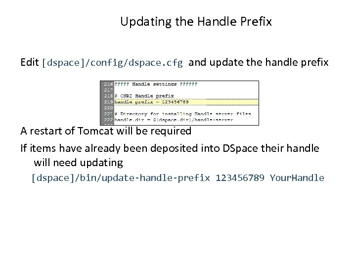 Updating the Handle Prefix Edit [dspace]/config/dspace. cfg and update the handle prefix A restart