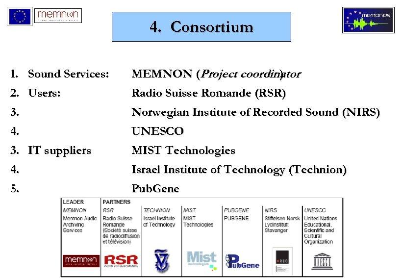 4. Consortium 1. Sound Services: 2. Users: 3. MEMNON (Project coordinator ) 4. 3.