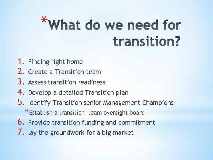 * 1. 2. 3. 4. 5. Finding right home Create a Transition team Assess
