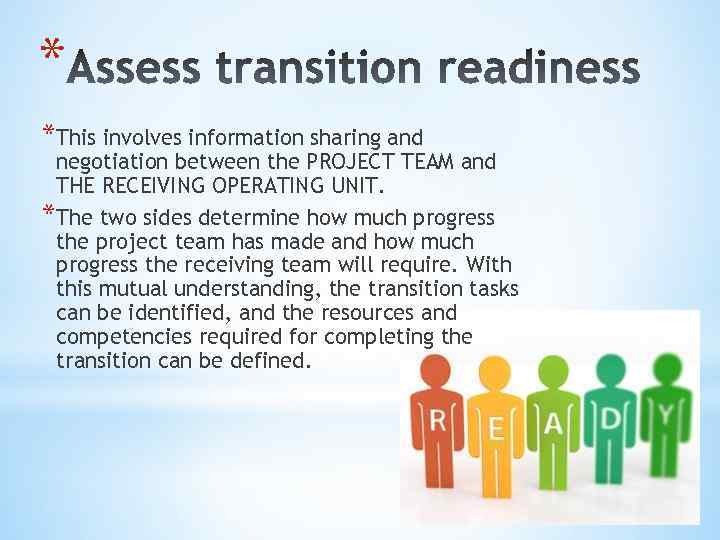* *This involves information sharing and negotiation between the PROJECT TEAM and THE RECEIVING