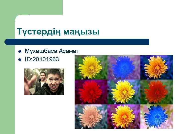 Түстердің маңызы l l Мұхашбаев Азамат ID: 20101963