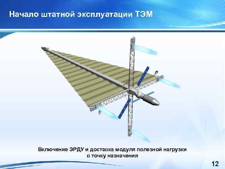 Начало штатной эксплуатации ТЭМ Включение ЭРДУ и доставка модуля полезной нагрузки в точку назначения
