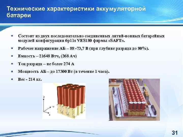 Технические характеристики аккумуляторной батареи Состоит из двух последовательно соединенных литий-ионных батарейных модулей конфигурации 6